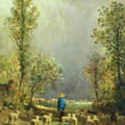 Sheep Watching A Storm Poster by Constant-Emile Troyon