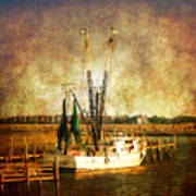 Shrimp Boat In Charleston Poster by Susanne Van Hulst