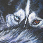 Siberian Husky Eyes Poster by Lee Ann Shepard
