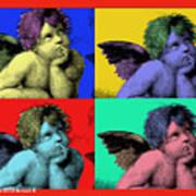 Sisteen Chapel Cherub Angels After Michelangelo After Warhol Robert R Splashy Art Pop Art Prints Poster by Robert R Splashy Art