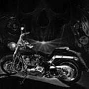 Skull Harley Poster by Tim Dangaran