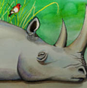 Sleeping Rino Poster by Robert Lacy