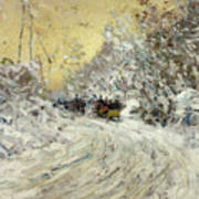 Sleigh Ride In Central Park Poster by Childe Hassam