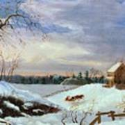 Snow Scene In New England Poster by American School