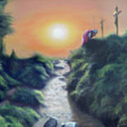 Soldier At The Cross Poster by Larry Cole