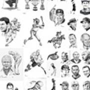 Sports Figures Collage Poster by Murphy Elliott