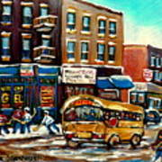St. Viateur Bagel With Hockey Bus  Poster by Carole Spandau