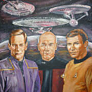Star Trek Tribute Enterprise Captains Poster by Bryan Bustard