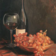 Still Life With Wine And Grapes Poster by Anna Rose Bain