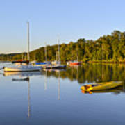 Still Waters On The Potomac River At Belle Haven Marina Virginia Poster by Brendan Reals