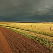 Storm Clouds Along A Saskatchewan Country Road Poster by Mark Duffy