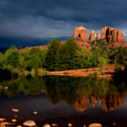 Stormy Day At Cathedral Rock Poster by David Sunfellow