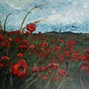 Stormy Poppies Poster by Nadine Rippelmeyer