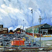 Stormy Sky Over Shipyard And Steel Mill Poster by Asha Carolyn Young