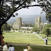 Students Sit On A Hill Overlooking Poster by Volkmar Wentzel
