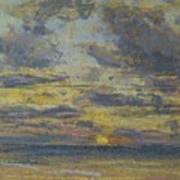 Study Of The Sky With Setting Sun Poster by Eugene Louis Boudin