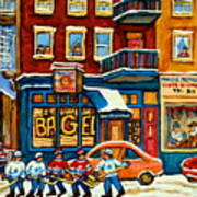 St.viateur Bagel Hockey Montreal Poster by Carole Spandau