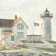 Sunrise At Nubble Light Poster by Dominic White