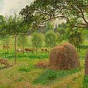 Sunset At Eragny Poster by Camille Pissarro