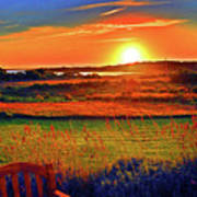 Sunset Eat Fire Spring Rd Nantucket Ma 02554 Large Format Artwork Poster by Duncan Pearson