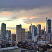 Sunset Over  Makati City, Manila Poster by Neil Howard