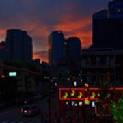 Sunset Over Nashville Poster by Susanne Van Hulst