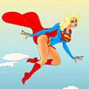 Supergirl Up In The Clouds Poster by Lynn Rider