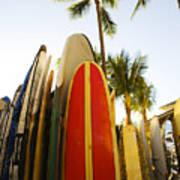 Surfboards At Waikiki Poster by Dana Edmunds - Printscapes