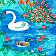 Swan And Duck Poster by Sushila Burgess