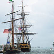 Tall Ships Hms Bounty And Privateer Lynx At Peanut Island Florida Poster by Michelle Wiarda