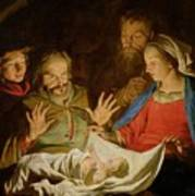 The Adoration Of The Shepherds Poster by Matthias Stomer
