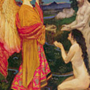 The Angel Offering The Fruits Of The Garden Of Eden To Adam And Eve Poster by JBL Shaw