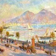 The Bay Of Naples With Vesuvius In The Background Poster by Pierre Auguste Renoir