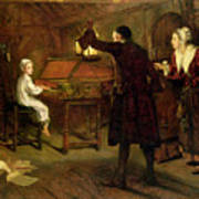 The Child Handel Discovered By His Parents Poster by Margaret Isabel Dicksee