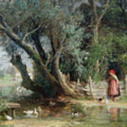 The Duck Pond Poster by Eduard Heinel