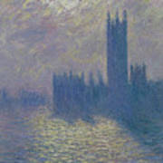 The Houses Of Parliament Stormy Sky Poster by Claude Monet