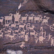 The Hunt Scene- Ancient Pueblo-anasazi Poster by Ira Block