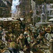 The Market Of Verona Poster by Adolph Friedrich Erdmann von Menzel