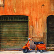 The Orange Vespa Poster by Karen Fleschler