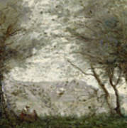 The Pond Poster by Jean Baptiste Corot