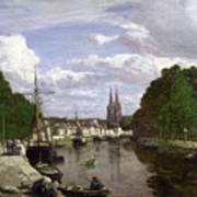 The Port At Quimper Poster by Eugene Louis Boudin