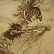 The Rhinemaidens Teasing Alberich Poster by Arthur Rackham