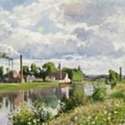 The River Oise Near Pontoise Poster by Camille Pissarro