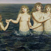 The Sea Maidens Poster by Evelyn De Morgan