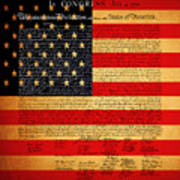 The United States Declaration Of Independence - American Flag - Square Poster by Wingsdomain Art and Photography
