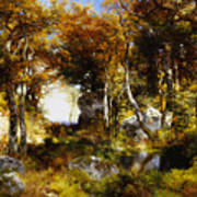 The Woodland Pool Poster by Thomas Moran