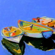 Three Colourful Boats Poster by Sue Gardner