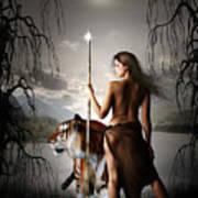 Tigress Warrior Of The Moon Poster by Julie L Hoddinott