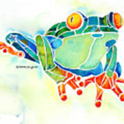 Tree Frog In Greens Poster by Jo Lynch