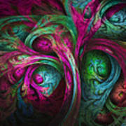 Tree Of Life-pink And Blue Poster by Tammy Wetzel